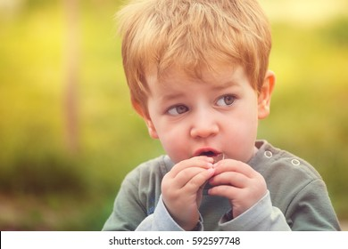 Young kid eating chocolate