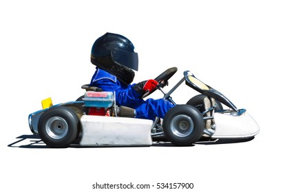 Young kid racing a go cart around a track. Panned to show speed.  Isolated on white