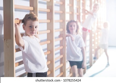 Young kids working out with wall bars at a school gym