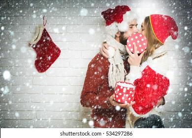 Christmas Kiss Images Stock Photos Vectors Shutterstock