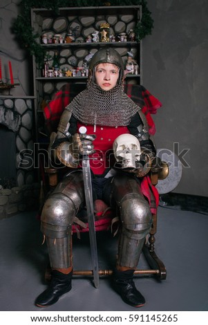 young knight armor 14th century sword stock photo edit now