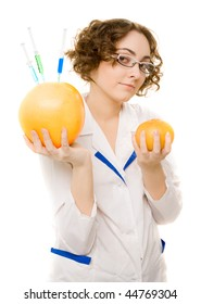 Young lab worker with GMO