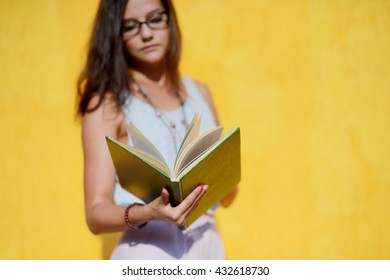 young lady with book