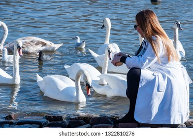 Young lady dressed in white coat feeds swans by the river