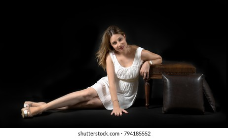 young lady posing on floor