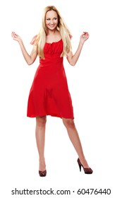Young lady in red dress dancing on white background