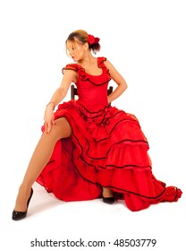 young lady in red hispanic dress