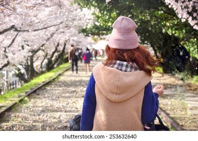 Young Lady Sakura tree traveler in japan
