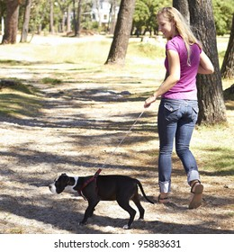 Young lady taking her dog for a walk in the park