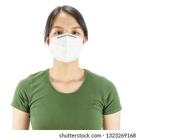 Young lady wearing mask protect fine dust in air pollution environment - people with protection equipment for air pollution concept
