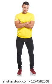 Young latin man full body portrait smiling people isolated on a white background