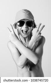 young lifeguard boy - selective focus - black and white photo