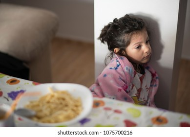 Young little girl rejecting food
