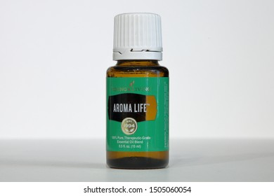 Young Living Essential Oils, Aroma Life Blend, isolated on a white background - San Antonio, Texas, USA - September 15, 2019