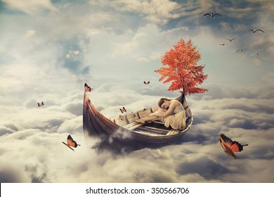 Young lonely beautiful woman drifting on a boat above clouds. Dreamy screensaver with skyline background