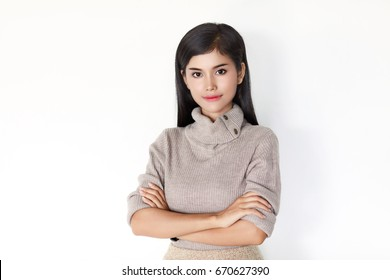 Young long black hair Asian woman with self-confidence manner looking at camera, white background