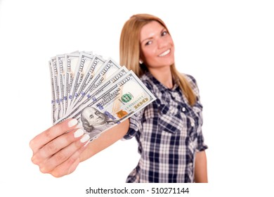 Young, long hair blond girl holding one hundred dollars. Isolated on the white background.