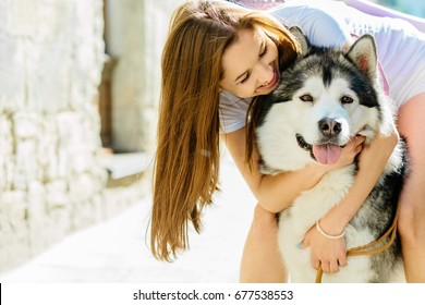 Young long hair woman hugging her dog alaskan malamute in sunny summer beautiful day. Dog with stick out tongue in hot day.