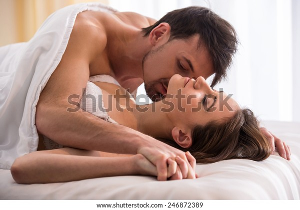 . Young Love Couple Bed Romantic Scene Stock Photo  Edit Now  246872389