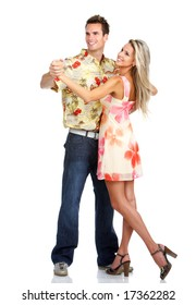 Young love couple dancing. Over white background