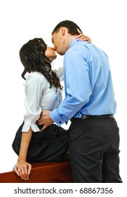 young love couple embraces on white background