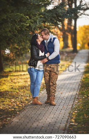 Young Lovers Dating Park Autumn Film Stock Photo Edit Now
