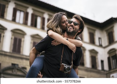 Young lovers visiting Florence in Italy