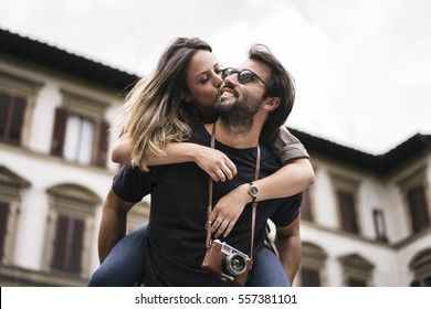 Young lovers visiting Florence as tourists