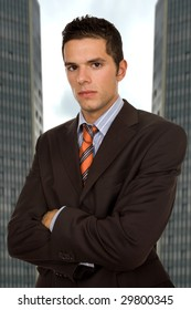 young mad business man close up portrait