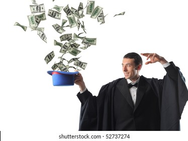 young magician and dollar explosion