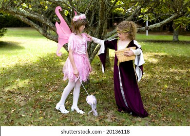 A young maiden finds a pink fairy.