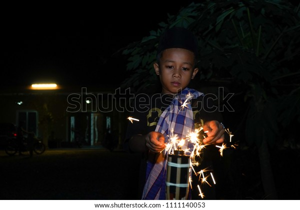 Young Malay Kids Playing Firecrackers Fireworks Stock Photo