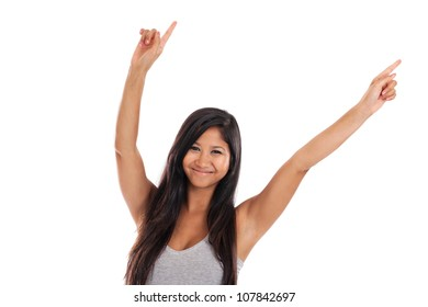 Young Malaysian woman dancing with hands in the air isolated on white