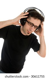 Young male adult listening to music