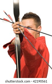 Young male archer focusing on target and aiming, isolated on white