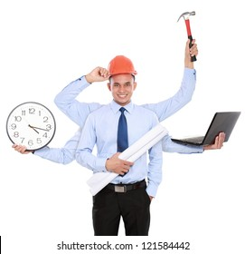 young male architect busy with many hands. Isolated over white background