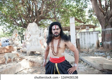 A young male artist as Ravana looks at Lord hanuman during the Lord of lanka post photoshoot on December 23rd 2018 at Sai Baba temple in Bengaluru,India