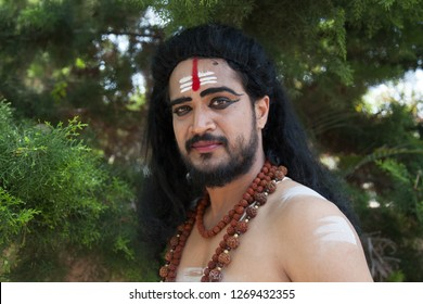 A young male artist as Ravana looks sarcastic during the Lord of lanka post photoshoot on December 23rd 2018 at Sai Baba temple in Bengaluru,India