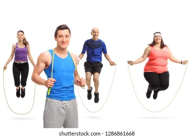 Young male athlete posing with a skipping rope and a group of people jumping with a skipping rope isolated on white background