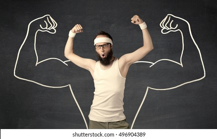 A young male with beard and glasses posing in front of grey background, thinking about lifting weight with big muscles, illustrated by white drawing concept.
