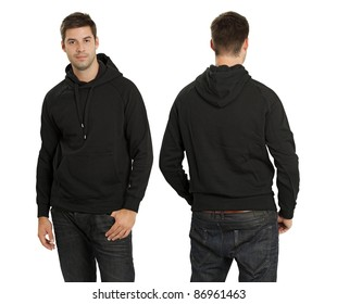 1f37304e329 Young male with blank black hoodie