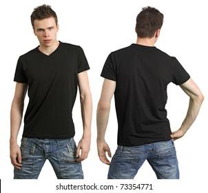 Young male with blank black shirt, front and back. Ready for your design or logo.