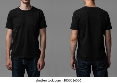 Young male in blank black t-shirt, front and back view. Design men t shirt template and mock-up for branding or print.  - Shutterstock ID 1858016566
