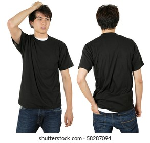 Young male with blank black t-shirt, front and back. Ready for your design or logo.