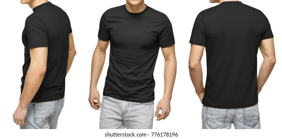 Young male in blank black t-shirt, front and back view, isolated white background with clipping path. Design men t shirt template and mock-up for print