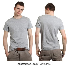 Young male with blank gray t-shirt, front and back. Ready for your design or logo.