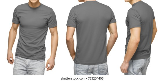Young male in blank gray t-shirt, front and back view, isolated white background with clipping path. Design men tshirt template and mockup for print