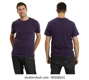 Young male with blank purple t-shirt, front and back. Ready for your design or logo.