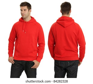 Young male with blank red hoodie, front and back. Ready for your design or logo.
