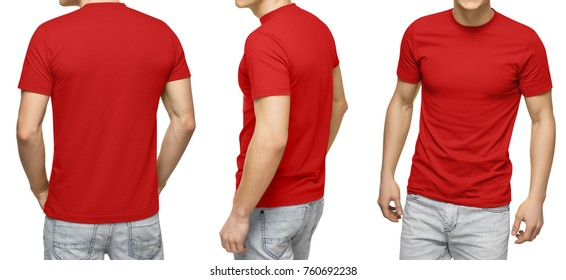 52a22b284 Young male in blank red t-shirt